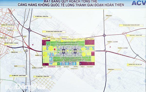 Mặt bằng quy hoạch tổng thể sân bay Long Thành và 2 tuyến đường giao thông kết nối